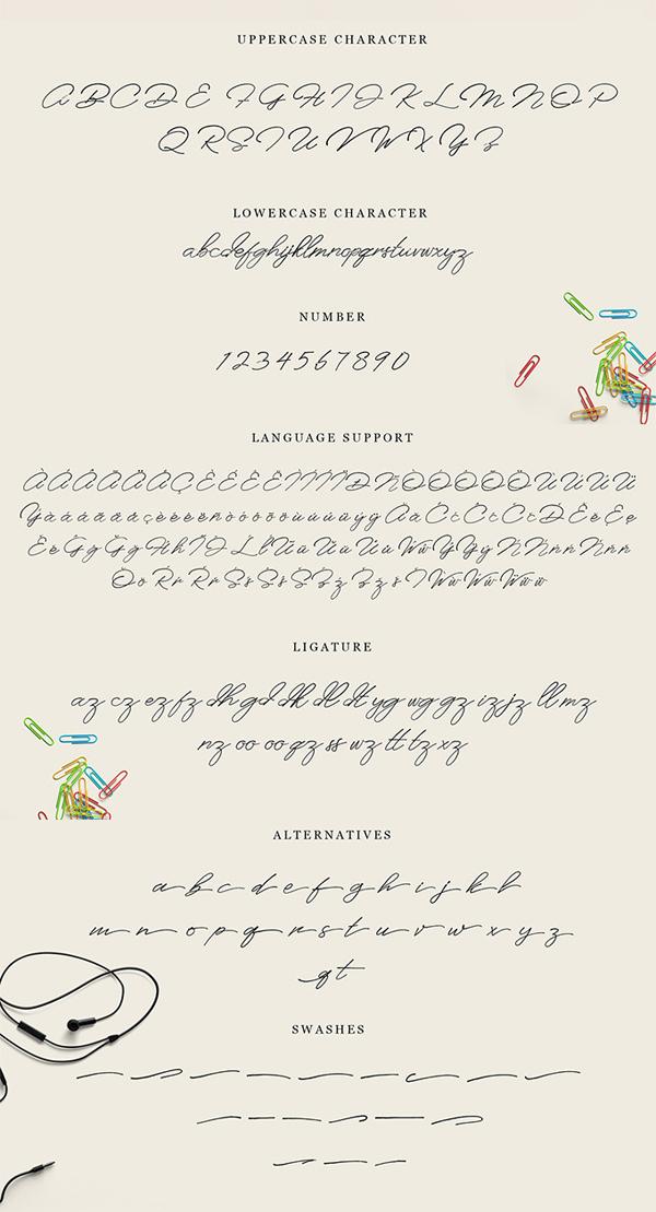 Anaheim Script Font Letters