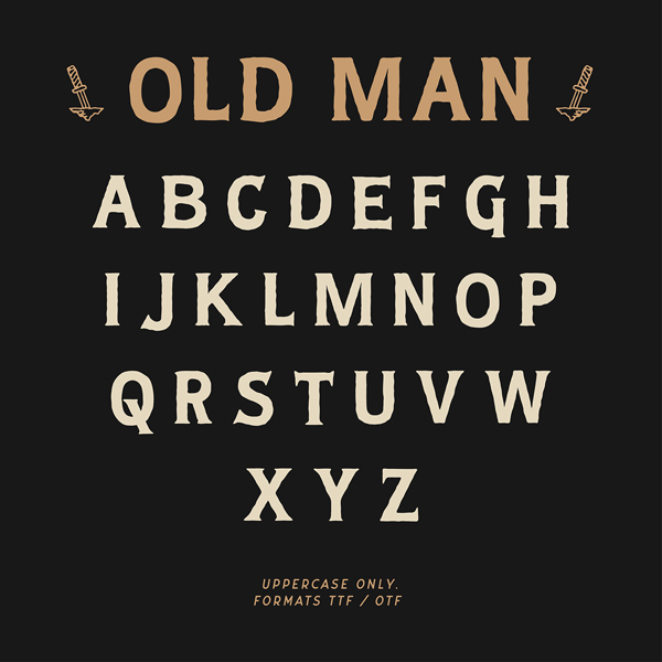 Old Man Vintage Font Letters