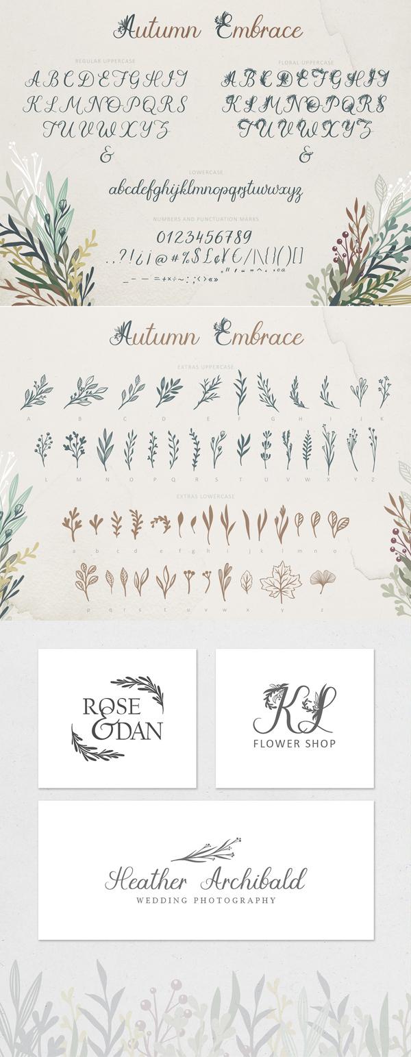 Autumn Embrace Floral Font Letters + EXTRAS