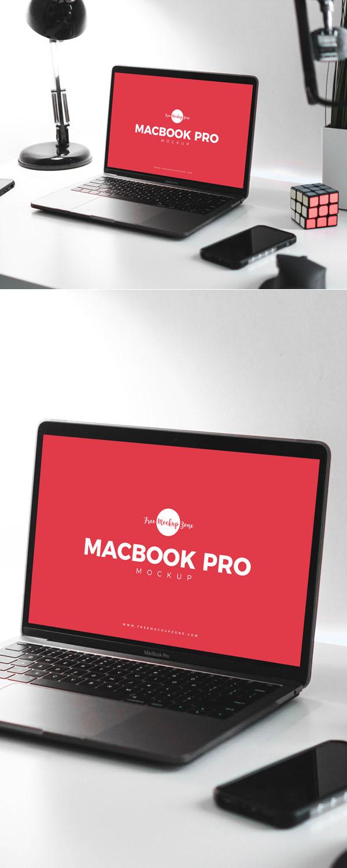 Free Design Studio MacBook Pro Mockup PSD