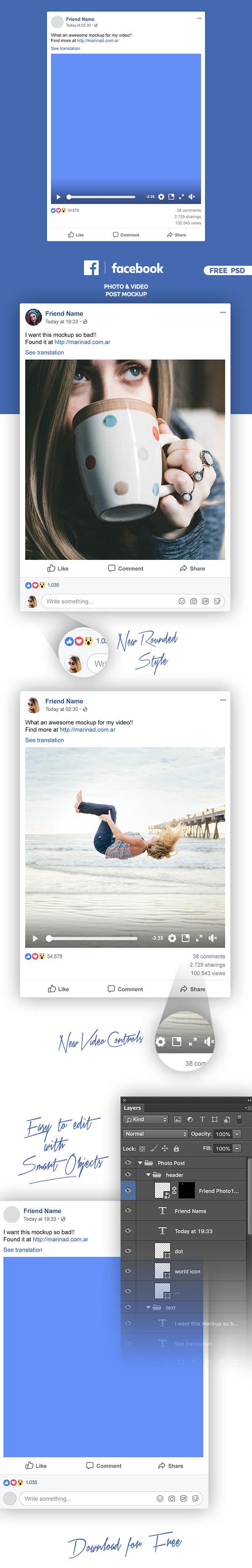 Free Facebook PSD Post Mockup