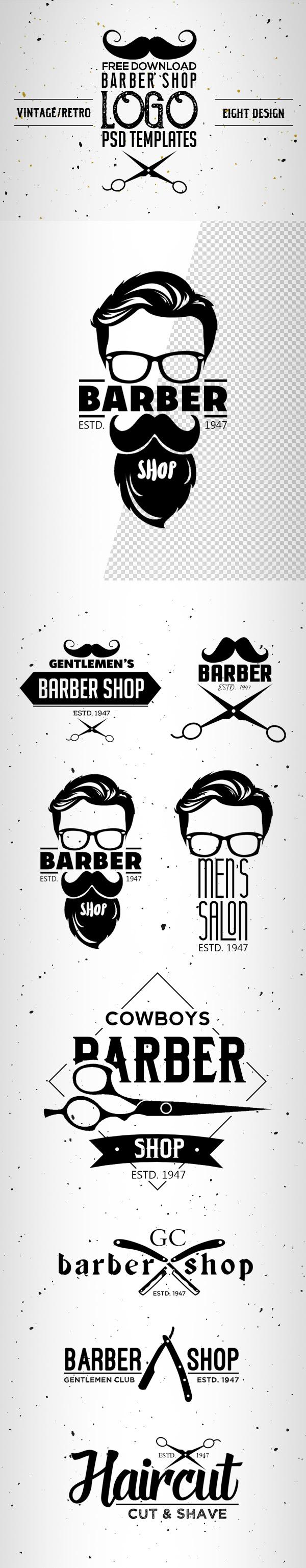 8 Free Vintage Barber Shop Logo Templates (PSD)