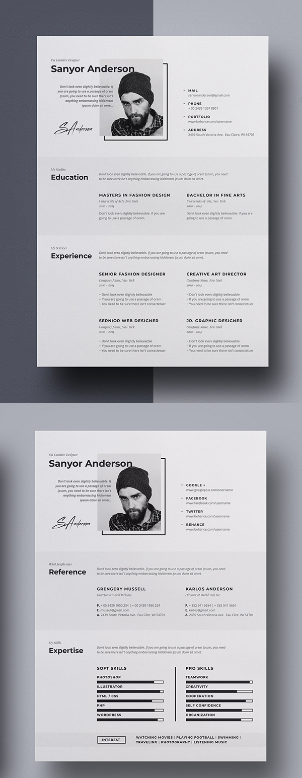 Freebies for 2019: Free Professional Resume Template