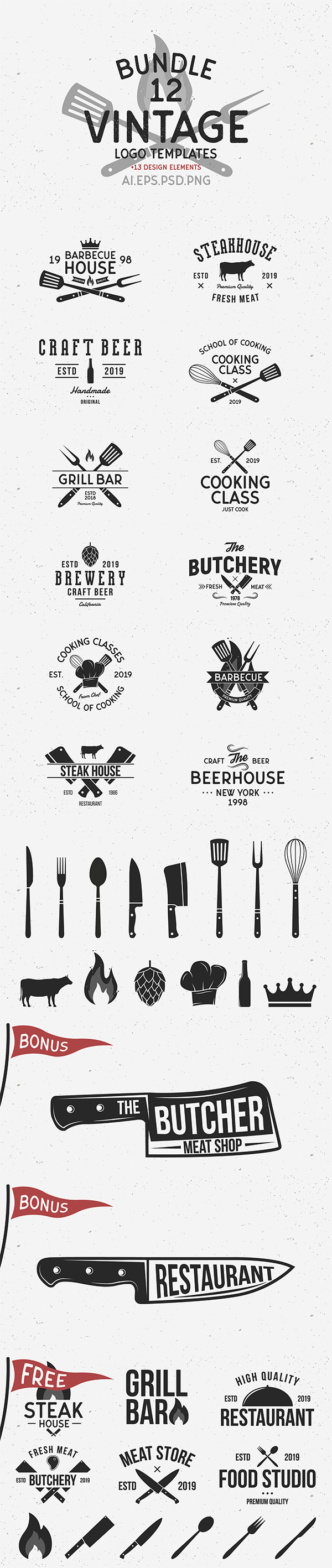 Freebies for 2019: Free Vintage Logo Templates and 6 Free logos