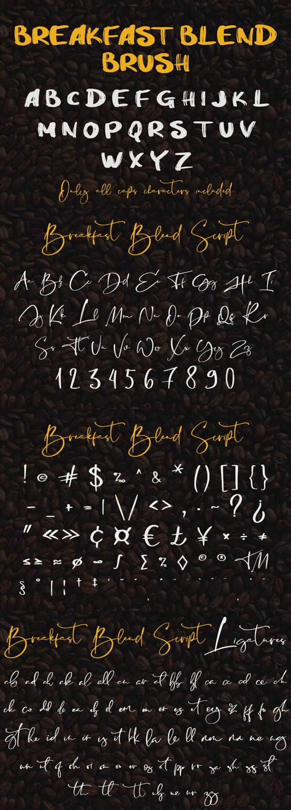 Breakfast Blend Brush Font Letters