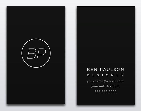 Creative Modern Black Business Card