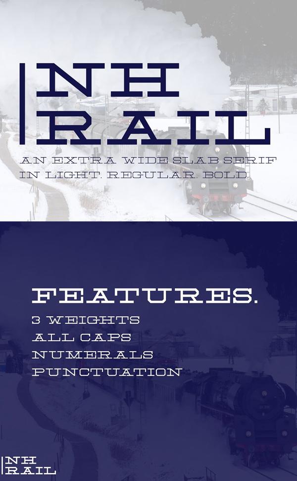 NH Rail - Extra Wide Slab Free Font