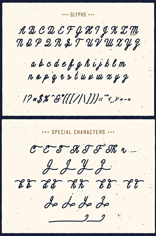 Contraband Monoline Script Font Letters
