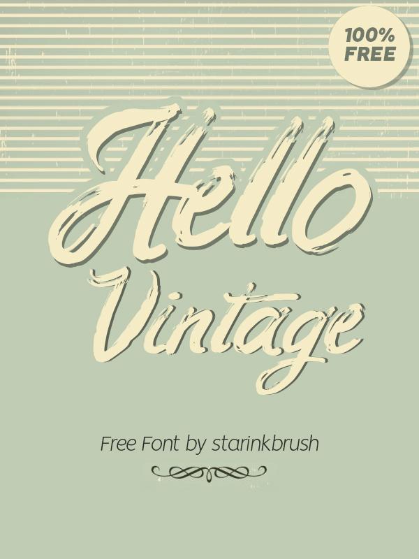 Hello Vintage Free Font - 50 Best Free Brush Fonts