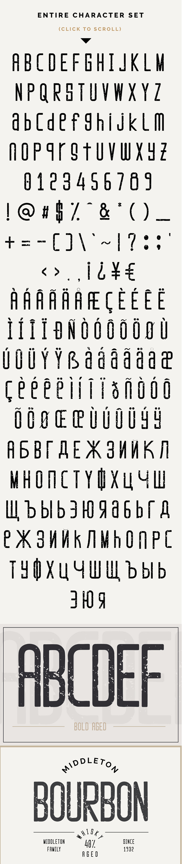 Marisole Vintage Textured Font Letters