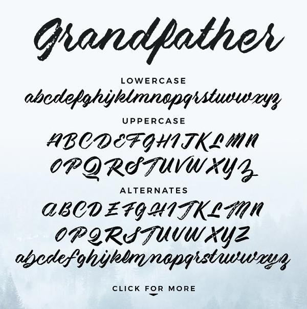 Grandfather - Brush Script Font Letters