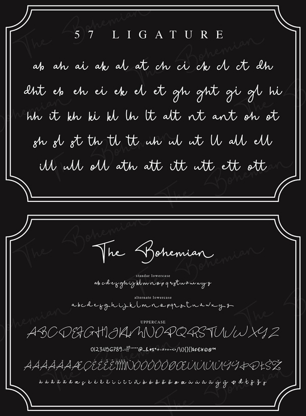 The Bohemian Signature  Font Letters