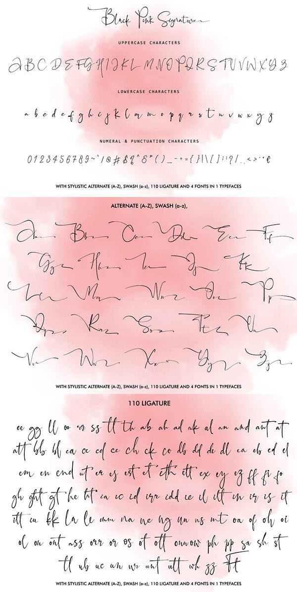 Black Pink Script Font Letters