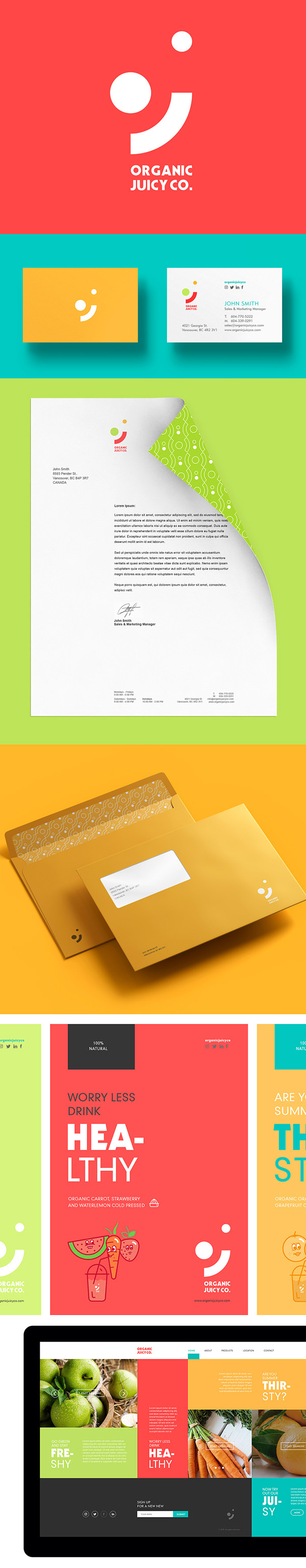 Branding: Organic Juicy Co. Logo Design and Branding by Broklin Onjei