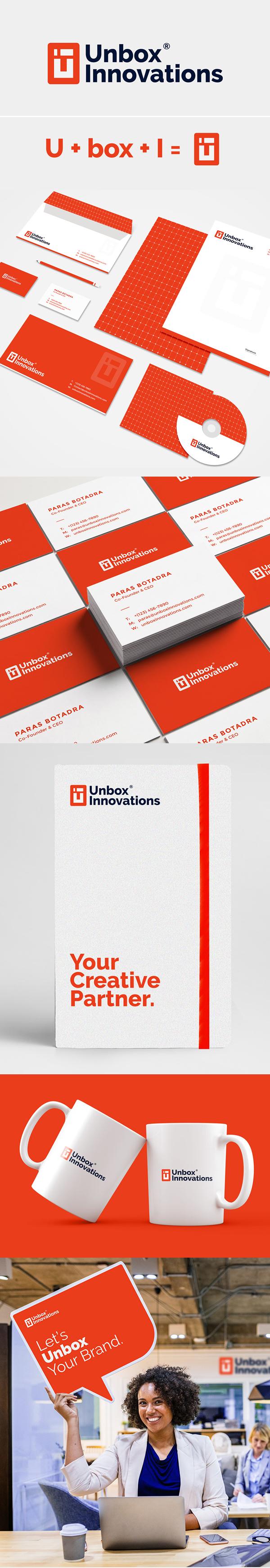 Branding: Unbox Innovations Logo design and Branding by Kanhaiya Sharma
