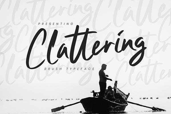 Clattering Free Brush Font - 50 Best Free Brush Fonts