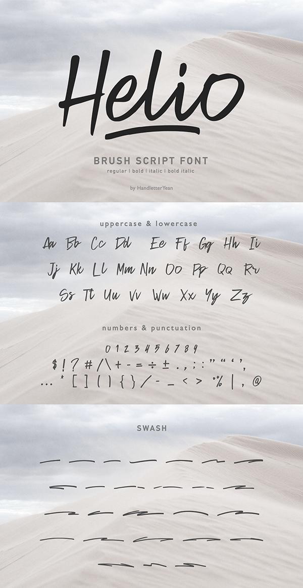 Helio Handwritten Brush Free Font - 50 Best Free Brush Fonts