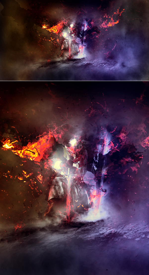 """How to Create Dark Medieval Knight Scene Inspired by """"Dark Soul"""" Game in Photoshop Tutorial"""
