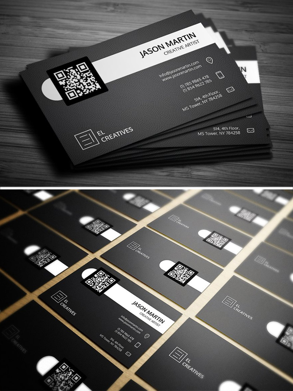 Clean Dark Dotted Business Card