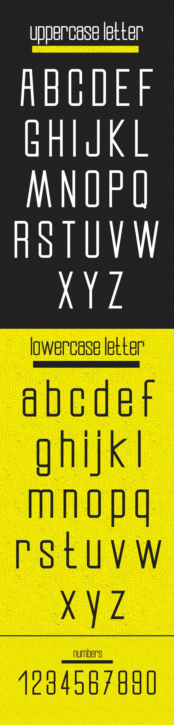Slender Free Font Letters