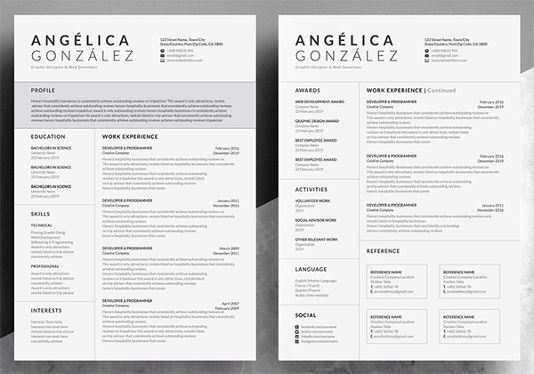Creative & Professional Word Resume