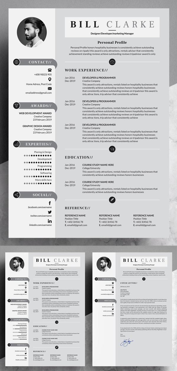 Modern Resume / Cv with Cover Letter