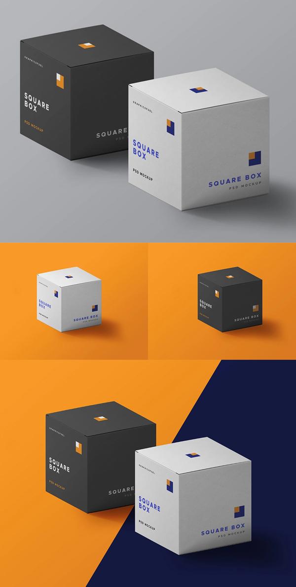 Free Square Box PSD Mockups
