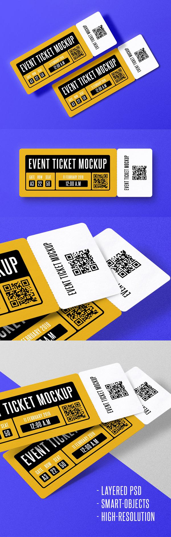 Free Event Ticket Mockup