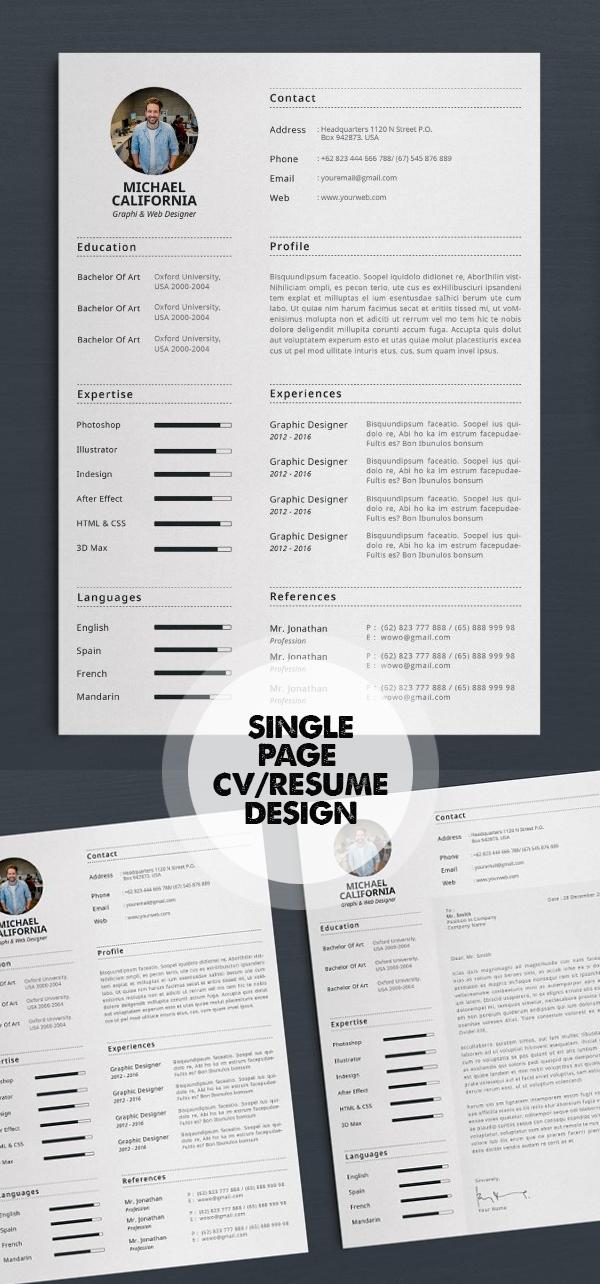 Single Page Resume/CV Template #resumedesign