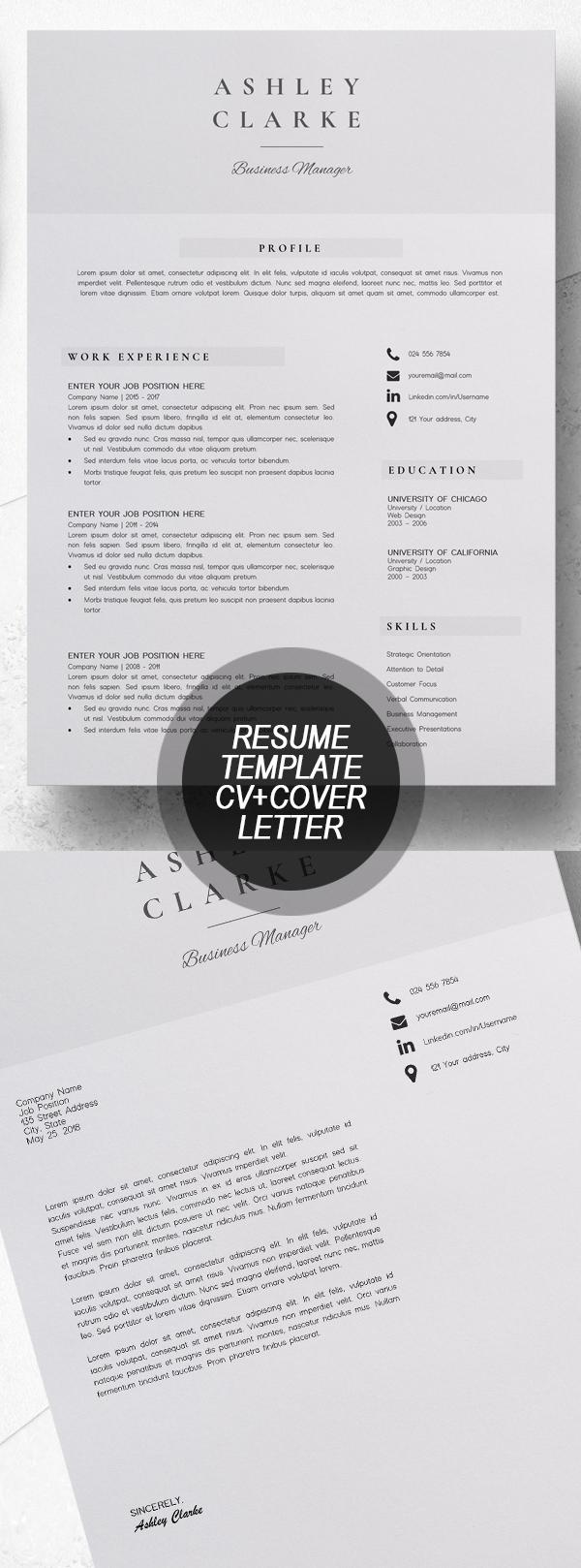 Resume Template  CV + Cover Letter #resumedesign