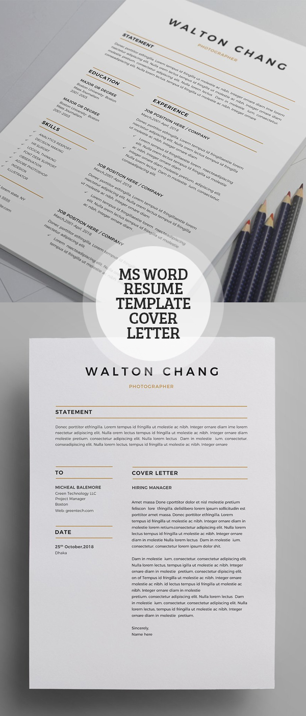 MS Word Resume Template with Professional Touch #resumedesign