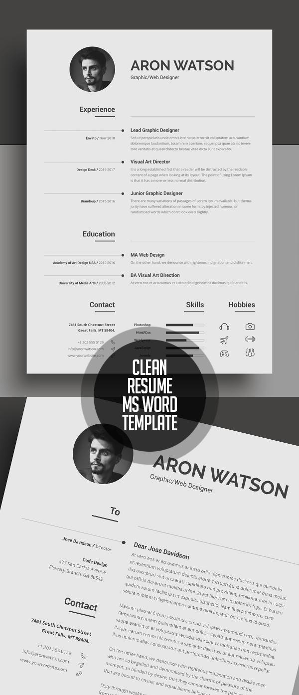 Clean Resume/CV Word Template #resumedesign