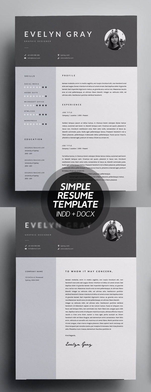 Simple 3 Page Resume Template - INDD + DOCX #resumedesign