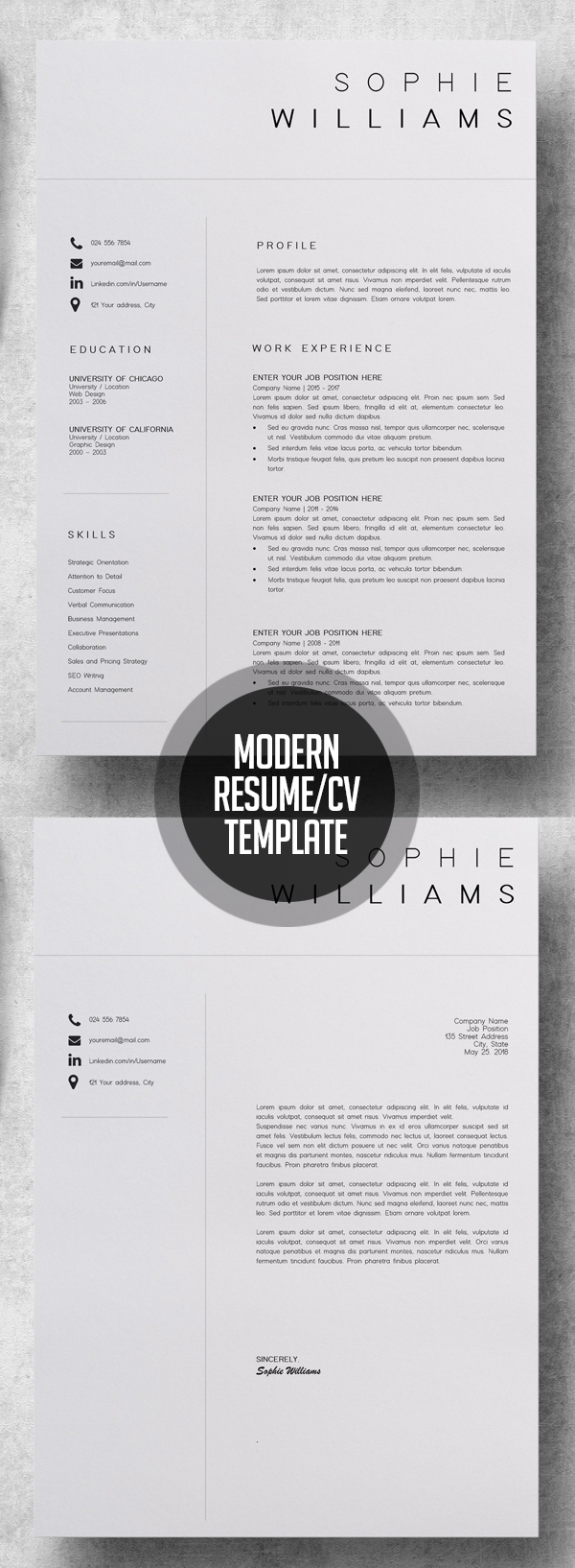 Modern Resume Template and CV Template #resumedesign