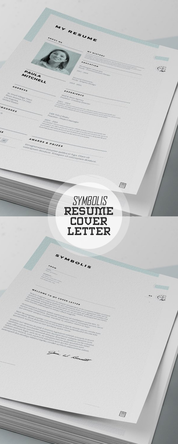 Symbolis Resume and Cover Letter #resumedesign