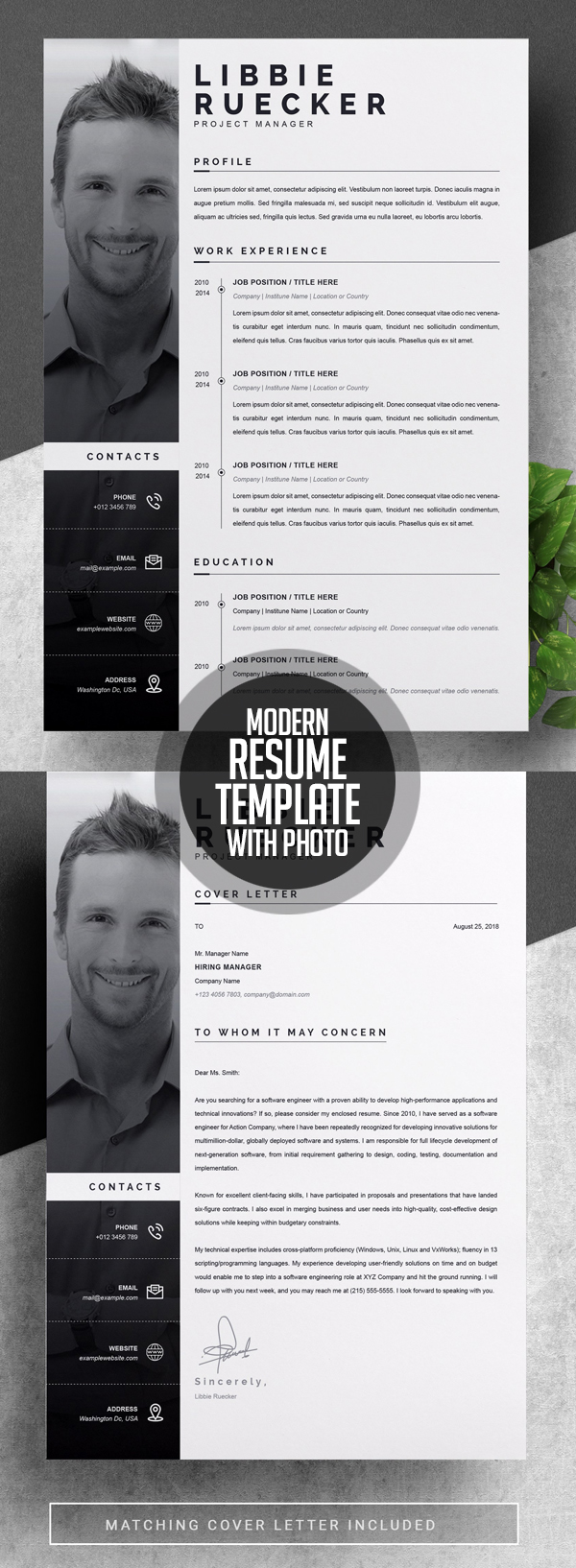Modern Resume Template with Photo #resumedesign