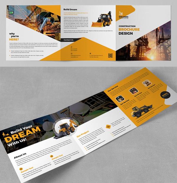 Construction Square Trifold Brochure