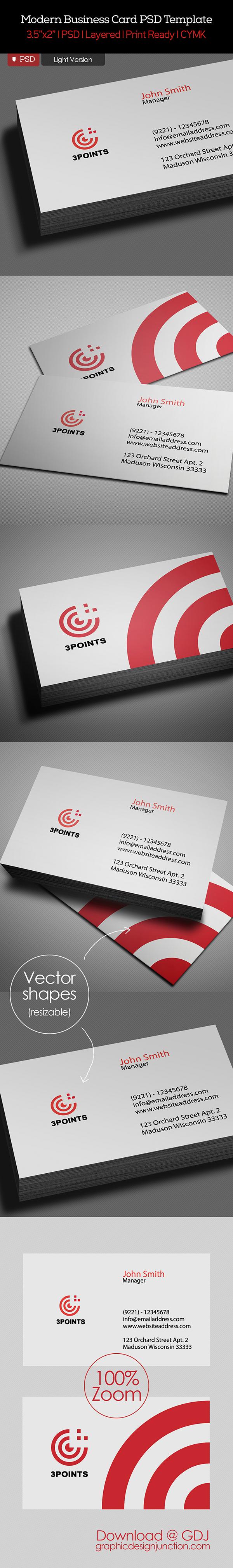 Free Business Card PSD Template Light Version