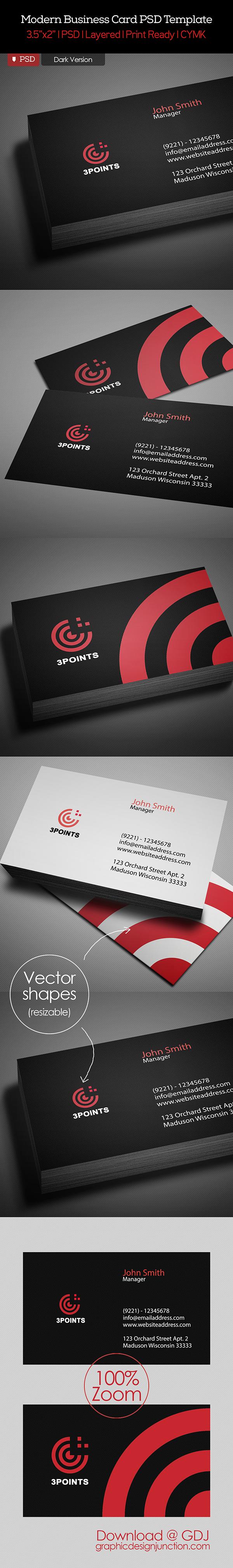 Free Business Card PSD Template Dark Version
