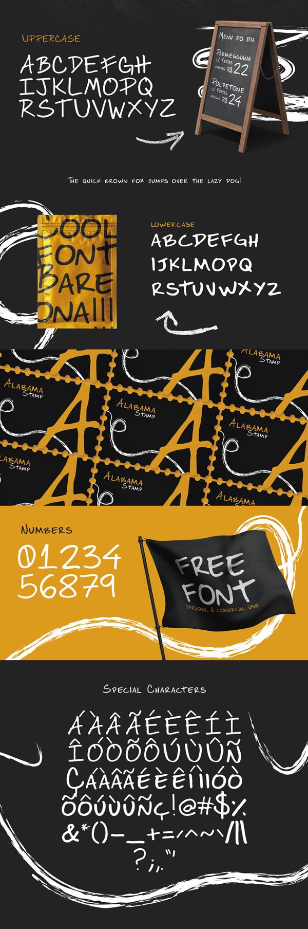 Bareona Handwritten Free Font Letters