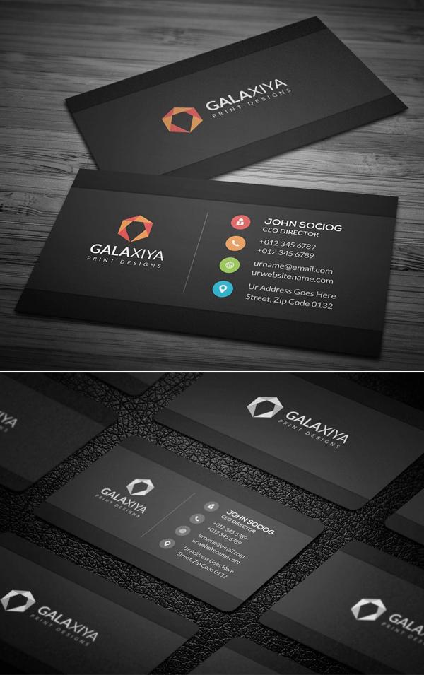 Sleek Dark Black Business Cards