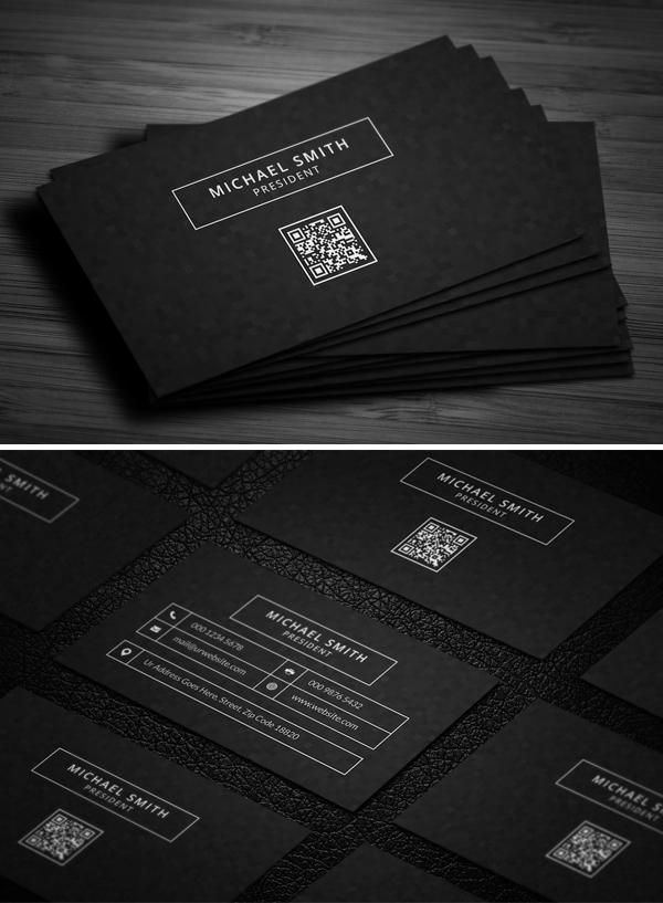 Modern Dark Sleek Business Card