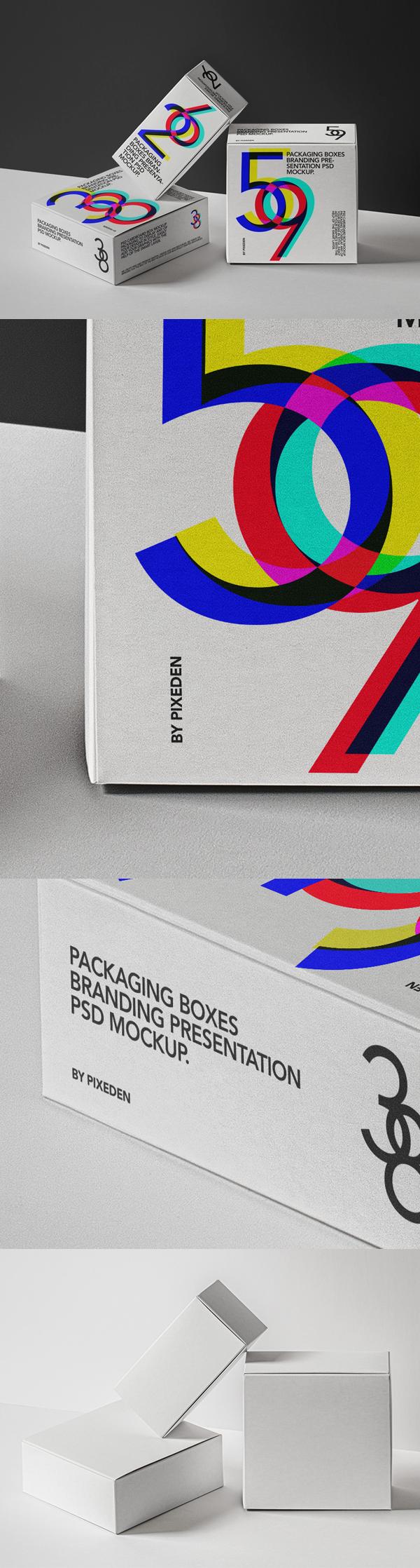 Free Psd Packaging Box Mockup Set