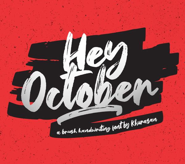 Hey October Brush Free Font