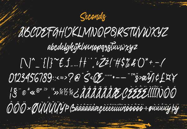 Seconds Rough Brush Script Free Font Letters