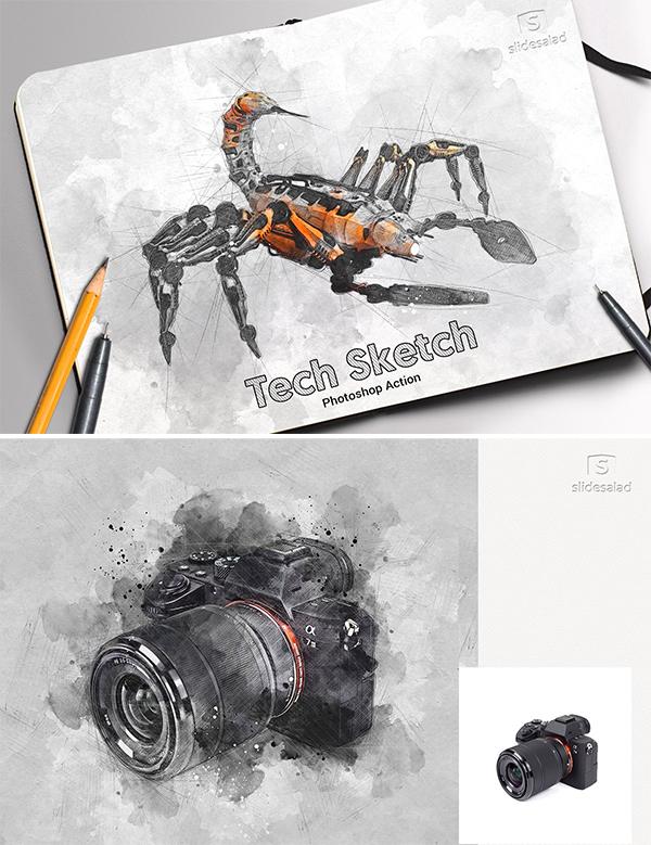 Tech Sketch Art Photoshop Action