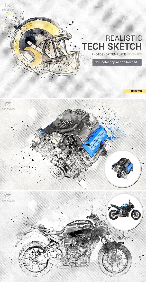 Tech Sketch Art Photoshop Mock-ups