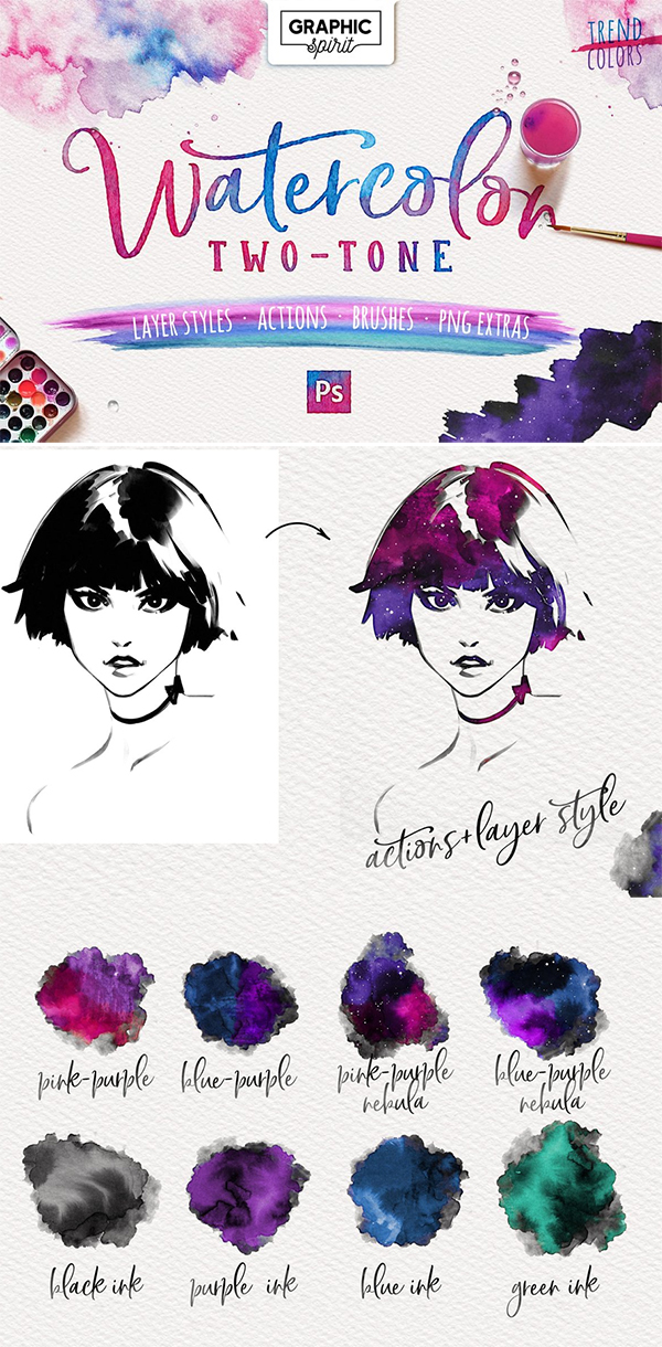 Watercolor Two - Tone Photoshop