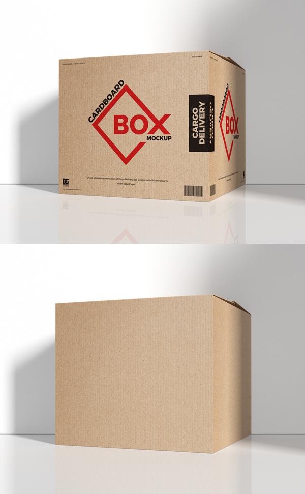Free Cargo Delivery Cardboard Box Mockup