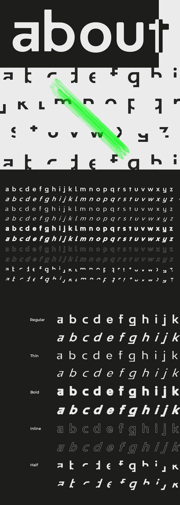 Half Font Letters